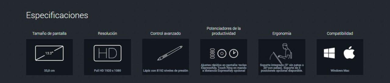 Wacom Cintiq pro 13 especificaciones